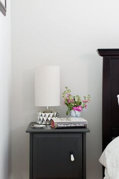 The nightstands are actually a score from IKEA. Lamp is from HomeGoods. The walls are Benjamin Moore Wickham Gray.