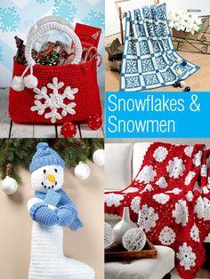 Snowflakes & Snowmen ~ easy level ~ incl. snowflake, snowman stocking, a throw and a snowflake bag ~ CROCHET