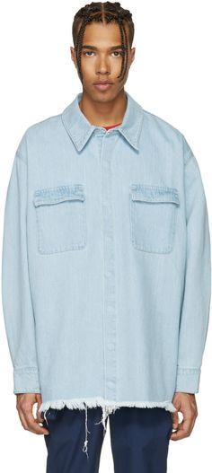 53319088e6d Marques Almeida - Blue Denim Overshirt Collars