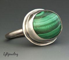 Silver Ring, Malachite Ring, Sterling Silver, Malachite, Green, Metalwork, Metalsmith, Handmade Jewelry, Ring Size 8.75