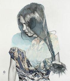 """Twistly | blendscapes"" - Oriol Angrill Jordà, Spain {contemporary artist figurative female head woman face profile portrait watercolor painting detail} <3 Great textures !!"
