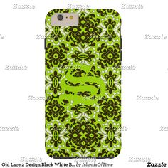 Old Lace 2 Design Black White Bright Green Initial Tough iPhone 6 Plus Case