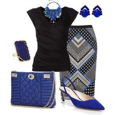 Look royal blu e nero