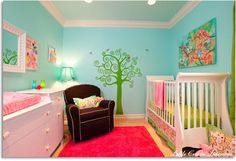 I love the Caribbean colors in the nursery. Bright yet serene.