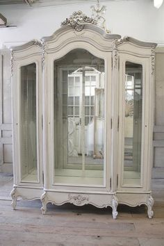 Antique Painted Louis XV Style Display Armoire from Full Bloom Cottage