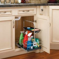 Rev-A-Shelf 544 Series Removable Under Sink Caddy with Carrying Handle Chrome Base Cabinet Organizers Utility Racks Organizer Under Sink Organization, Sink Organizer, Kitchen Organization, Cabinet Organizers, Organization Ideas, Refacing Kitchen Cabinets, Modern Cabinets, Undersink Bathroom Storage, Under Kitchen Sinks
