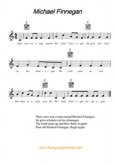 Michael Finnegan Free Sheet Music from Funny Songs for Kids Camp Songs, Fun Songs, Songs To Sing, Music Songs, Ukulele Songs, Music Guitar, Piano Music, Ukulele Chords, Funny Songs For Kids