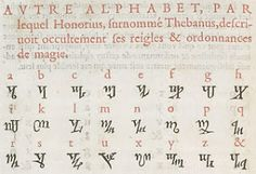 The oldest known book containing the Theban Alphabet is Johannes Trithemius' Polygraphia (1518)