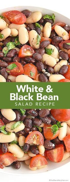 This White and Black Bean Salad Recipe with Tomatoes, Basil and Garlic is an easy and healthy side dish that is not to be missed. shewearsmanyhats.com #green_bean_casserole_recipes