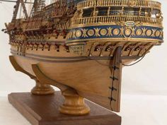 Close-up photos of ship model SAN FELIPE, held by tiny wedges instead of a stand Model Sailing Ships, Old Sailing Ships, Model Ships, Mercedes Stern, Model Ship Building, Abandoned Ships, Wood Boats, Wooden Ship, Nautical Art