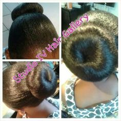 Natural hair client elegant bun design...