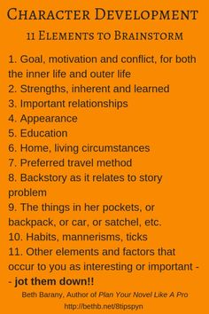 11 Elements to Effectively Brainstorm Character Development in Your Novel. 11 Elements to Effectively Brainstorm Character Development in Your Novel. Creative Writing Tips, Book Writing Tips, Writing Words, Fiction Writing, Writing Process, Writing Resources, Writing Help, Writing Skills, Creative Writing Inspiration