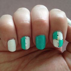 Turquoise and white summer fun nails!