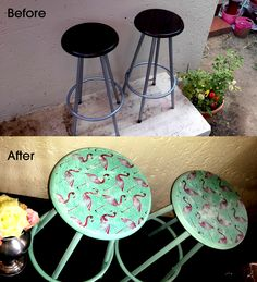 refurbished bar stools using chalkboard paint and graphic flamingo prints
