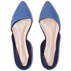 ShoeDazzle Flats Lisethe Womens Blue ❤ liked on Polyvore featuring shoes, flats, blue, blue d orsay flats, flat shoes, blue flats, blue flat shoes and flat pumps