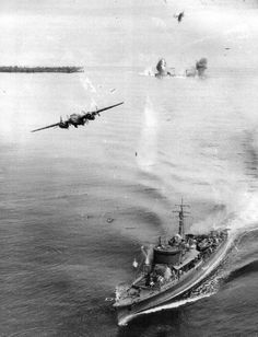 wwll B-25 attacking japanese ship