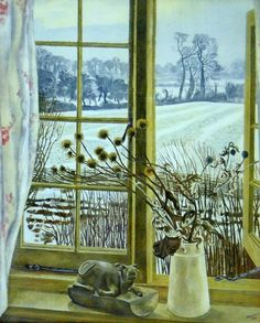 John Nash - Window in Bucks, Auto-Lithograph, 1928