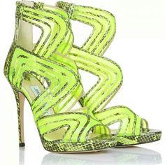 #jimmychoo #hot #fluorescent #yellow #limegreen #sandals #snakeskin #highheels #fashion #fashionista #summer #runway #trend #catwalk
