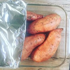 "The perfectly cooked sweet potato is the ""steam-baked"" sweet potato! The perfectly cooked sweet potato is the ""steam-baked"" sweet potato! Add slits to sweet potatoes, nestle snugly in glass baking dish, add water, . Best Baked Sweet Potato, Steamed Sweet Potato, Sweet Potato Recipes, Baby Food Recipes, Cooking Recipes, Healthy Recipes, Cooking Time, Cooking Sweet Potatoes, Mashed Sweet Potatoes"