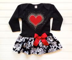 Girls Valentines Day damask dress. Red Hearts and rhinestones custom boutique children's clothing. Baby toddlers children's clothing.