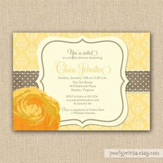 Yellow Rose Bridal Shower Invitations
