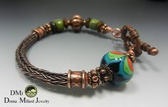 COPPER BRACELET Donna Millard SRA viking knit woven wire mothers day gift gypsy boho fairy faerie fae bohemian