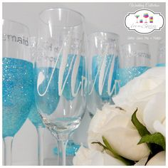 Mr. & Mrs. and Wedding Party Champagne Toasting Flute Gift Sets Wedding Collection Glitter Glass Mix and Match Rio x 8