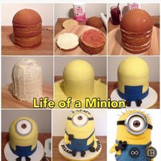 Friend of mine wants a minion cake. Cakes To Make, Fancy Cakes, Cute Cakes, How To Make Cake, Minion Torte, Bolo Minion, Minion Cakes, Minions Minions, Minions Quotes