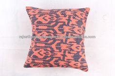 Cotton Cushion Cover Bohemian Kantha Work Floral Brown Tie Die Home Decor Pillow Case