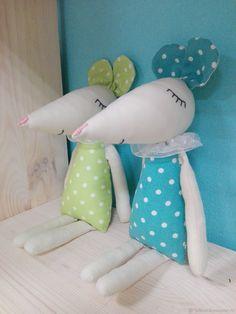 Купить Мышки - сони - голубой, зеленый, горошек, мыши, мышки, комбинированный, соня, хлопок, синтепух