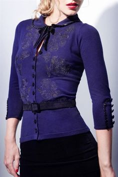"Just THE cutest cardy and can you imagine ""our"" red hair next to this shade of vixen-violet?"