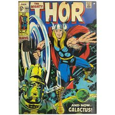 An awesome poster of The Mighty Thor! Amazing cover art by Jack Kirby from the Silver Age of Marvel Comics. Check out the rest of our incredible selection of Avengers posters! Need Poster Mounts. Thor Comic Book, Comic Book Superheroes, Comic Book Covers, Hulk Comic, Jack Kirby, Stan Lee, Bbg, Cover Art, Galactus Marvel