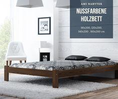 Das nussfarbene #Holzbett aus #Kiefernholz schafft in jedem #Schlafzimmer eine natürliche Atmosphäre. Das Bett ist in vielen Größen sowie in anderen Farben erhältlich. Im Set gibt es Lattenrost aus Birkenholz - verbunden mit dem Polsterband.  #Bett #Massivholzbett #Gästebett #Ehebett #Jugendbett