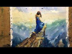 Watercolor professional painting - wet on wet technique