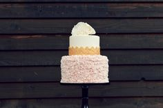 Fun two tiered wedding cake with blush ruffles, gold lace and a large white fluffy peony. Gold Lace, Cake Shop, Large White, Custom Cakes, Peony, Vanilla Cake, Ruffles, Wedding Cakes, Blush