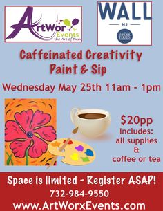 ☕️ ArtWorx Events at a new partner location... Whole Foods Market Wall! Wednesday May 25 - 11am-1pm ☕️ @wfmmonmouthnj #wholefoodswall #canvaspainting #coffeelover #springflower #paintandsip #njart #morningfun