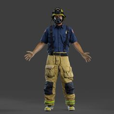 This firefighter is our most recent render. We first 3D scanned him with a hand held scanner and then applied textures. Tell us what you think. #3Dscanning