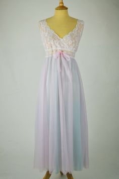 1960s Vintage Nightdress Pink and Blue Nylon with Lace Bodice Vintage  Underwear 3e341de0b
