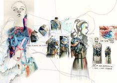 I really liked the intermixing of both medias; digital and hand drawn. I think it really adds character to the designs Fashion Portfolio Layout, Fashion Design Sketchbook, Fashion Illustration Sketches, Fashion Sketches, Sketchbook Layout, Sketchbook Ideas, Sketchbook Inspiration, Fashion Figures, Textile Design