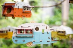 Vintage Camper Bird House. Scale model playset you can build and use! Bring back the love of travel and camping with a miniature trailer-$25.00