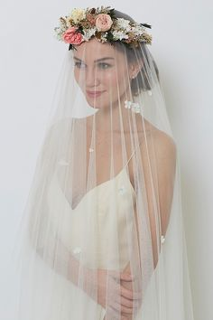 Wedding veil with pink floral crown