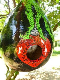 The Grinch Hand Painted Gourd Birdhouse and by DesignsbySugarbear