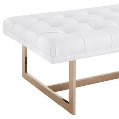 Oppland White Upholstered Tufted Gold Bench