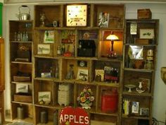 """apple crates $25 each Crate Weathered , Industrial, Apple Crates Rustic Old Apple Boxes DIY Antique I'm around most days Call for an appointment Just Skids Recycling QubeCrateCreations 62 Medulla Ave. Etobicoke Thanks Joe 416-232-0339-Interior decoration-Shop windows-Garden centres-Film sets-TV adverts-Exhibition stand- Window Displays-Window Dressing Build your own Shelving, Book case, Wall unit, Room dividers I Have about 100 in good condition 21 x 15 1/2 x 11"""" High"""