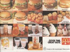Mcdonald's NZ tray insert showing menu from late 1980's. Image via google-Flickr copyright NZ Collector