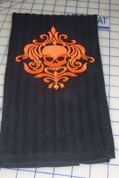 Embroidered Goth skull dish towel by GrammiesFunTime on Etsy.. sale $10.00