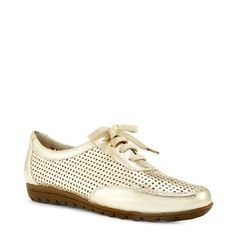 Gold Sneakers / Shoes / Flats 7.5 NIB Metallic sneaker flat with lace up vamp and perforated details give a glamorous twist on the sporty look. Subtly cushioned footbeds. New In Box Chico's Shoes Sneakers