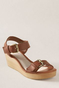 Women's High Wood Wrap Insley Wedge Sandal    A spring and summer staple. You'll find yourself wearing these wedges with just about everything in your closet. The simplistic design featuring a burnished full-grain leather upper is sure to be on your wish list this spring.      #landsendcanvas