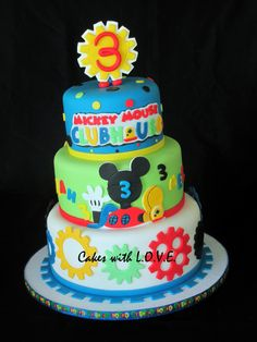 Mickey Mouse Clubhouse cake My sons next birthday cake. Pastel Mickey, Mickey And Minnie Cake, Bolo Mickey, Minnie Mouse Cake, Mickey Party, Mickey Mouse Bday, Mickey Mouse Clubhouse Birthday Party, Mickey Mouse Birthday, 2nd Birthday