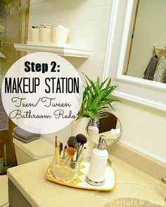 Tween/Tween Bathroom Redo - 5 Ways to Create a Space YOUR Teen Will Love! -- Tatertots and Jello Downstairs Bathroom, Bathroom Layout, Bathroom Ideas, Bathroom Furniture, Teen Bathrooms, Mirror Makeover, Bath Girls, Create Space, A 17